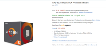 Ryzen 5 2600X listing on Amazon.de. (Source: Wccftech / 3DCenter Forum)