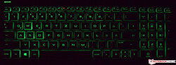 The backlit keyboard of the HP Pavilion Gaming 16