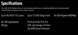 AMD X570 chipset specifications. (Source: AMD)
