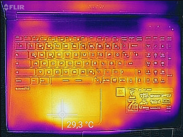 Temperature on the top side (idle)