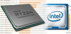 The Ryzen Threadripper series offers performance dominance for AMD but Intel has the market share advantage. (Image source: AMD/Intel/Master Lu - edited)