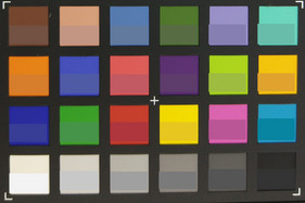 Photo of the ColorChecker chart; the lower half of each patch shows the original color.