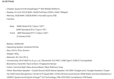 G8 spec sheet: The LG G8s comes with similar specs and features but has an FHD+ display and 13 MP (wide) + 12 MP sensors on the rear. (Source: LG)