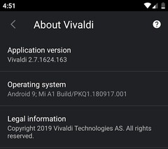 Vivaldi 2.7 on Android with dark theme (Source: Own)