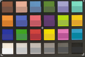 ColorChecker. Target color in the bottom half of each square.