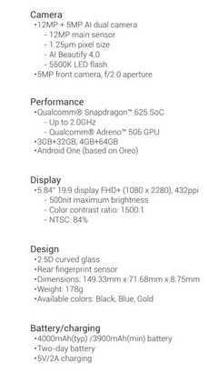 Xiaomi Mi A2 Lite Spec Sheet. (Source: Xiaomi)
