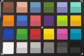 ColorChecker colors. The reference color is in the bottom half of each square.