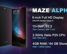 Maze Alpha Android phablet with 6 GB RAM announced for August 28 (Source: Phablist)