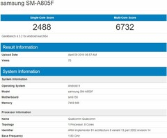 Samsung Galaxy A80 (SM-A805F) listing (Source: Geekbench Browser)