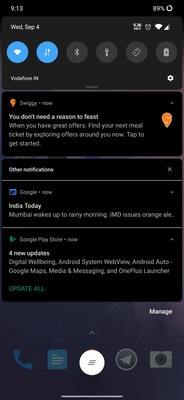 Notifications now get a dark treatment in Android 10's Dark Mode.