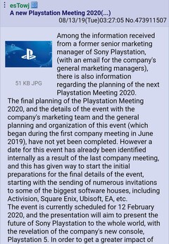 Sony PlayStation 5 could be unveiled at the PlayStation Meeting 2020 in February - 1. (Source: User D.Final on NeoGAF Forums)