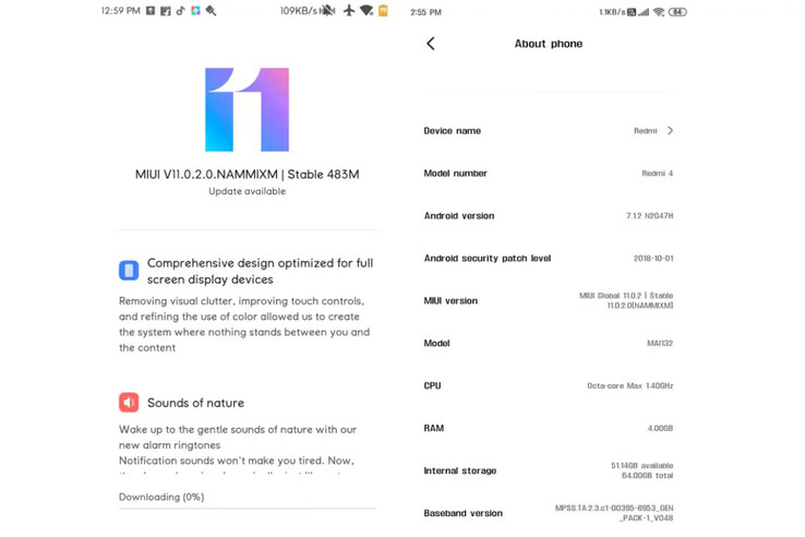 The alleged update description screen for the Redmi 4 MIUI 11 update. (Source: NDTV)