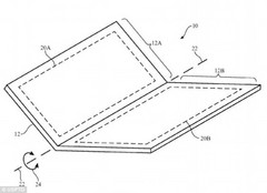 Apple intends to use a single foldable screen instead of a dual-panel setup. (Source: USPTO.gov)