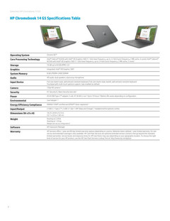 Chromebook 14 G5 spec sheet