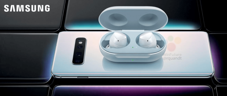 S10+ reverse wireless charging Samsung Galaxy Buds. (Source: Twitter/Roland Quandt)