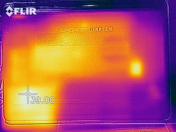 Thermal imaging of the bottom case - idle