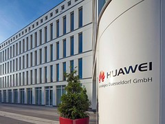 Huawei office building in Duesseldorf, first Huawei 5G phone coming at MWC 2019