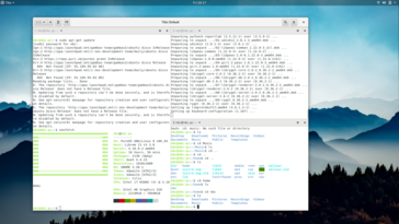 Tilix is the terminal emulator and offers paned workspaces.