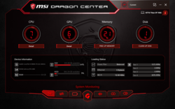 MSI Dragon Center UI.