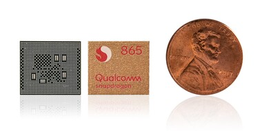 Qualcomm Snapdragon 865 vs. 1-Cent-Coin. (Source: Qualcomm)