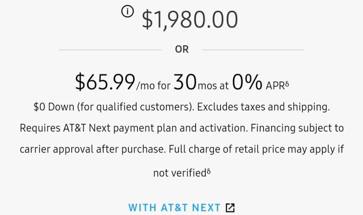 AT&T's re-instated pricing scheme for the Galaxy Fold. (Source: TizenHelp)