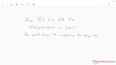 Handwriting sample using the included stylus.