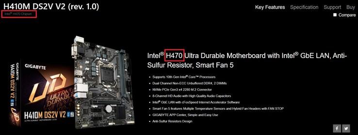 H410M DS2V V2 (rev. 1.0). (Image source: Gigabyte)