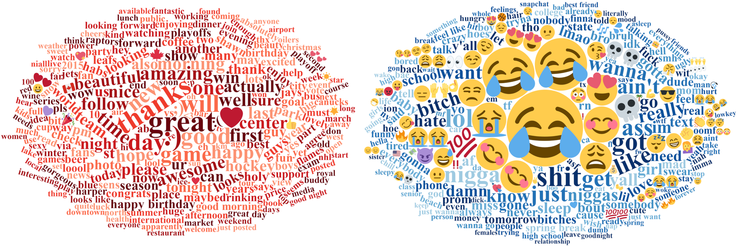 This graph shows which words and emojis are most frequently used in Canada (left) and the USA (right) (source: plos.org).
