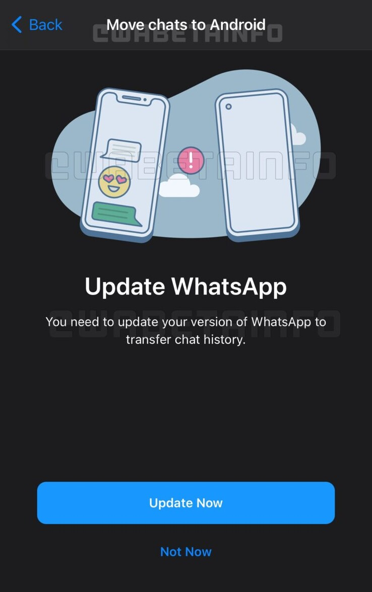 This is what WhatsApp's cross-platform chat transfer could look like (image via WABetainfo)