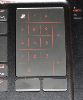A numpad can be displayed on the touchpad