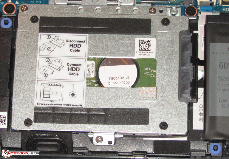 A 2.5-inch hard drive is used to store data.