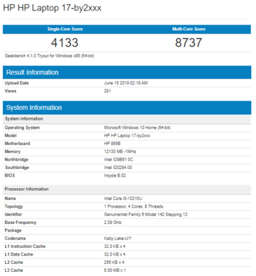 The Core i5-10210U. (Image source: Geekbench)