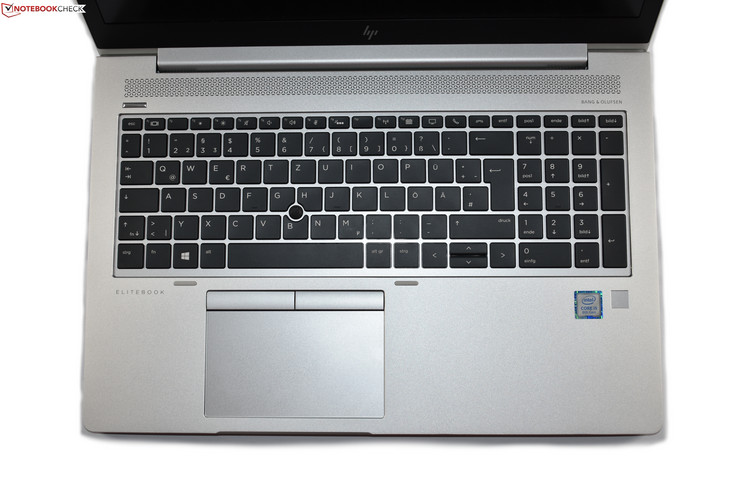 keyboard area of the HP EliteBook 850 G5