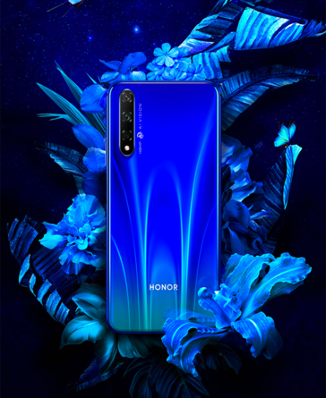 The Honor 20S will be sold in Butterfly Black, White or Blue, the latter 2 of which are also gradient shades. (Source: Honor)