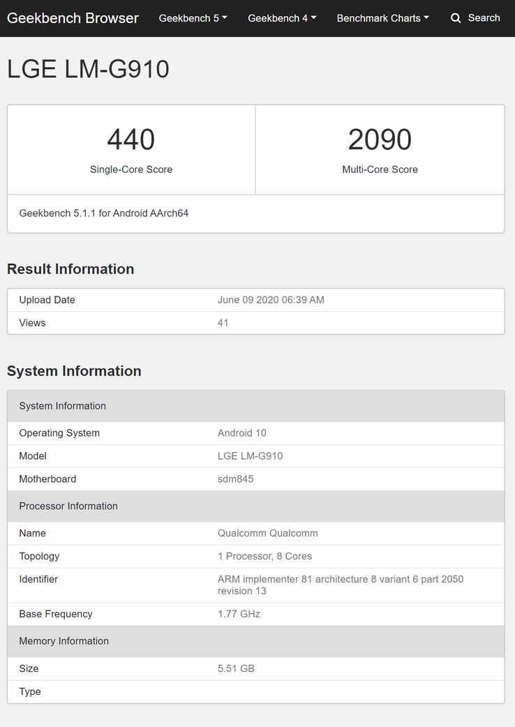 The LG-G910 with a Snapdragon 845. (Image source: Geekbench)