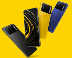 The Poco M3 will be available in three colours. (Image source: 91Mobiles)