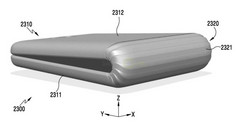 A recent patent application from Samsung shows a smartphone that can fold over itself. (Source: Samsung patent)