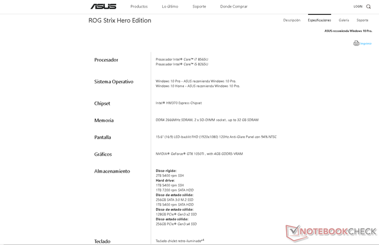 Screencap of specifications explicitly mentioning the Core i5-8265U and i7-8565U just in case if Asus decides to pull the page again
