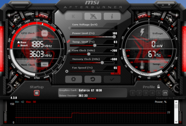 MSI Afterburner with overclocking clock speeds