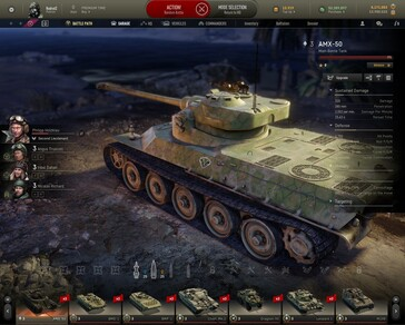 AMX-50 in garage with camo applied - Armored Warfare 0.28