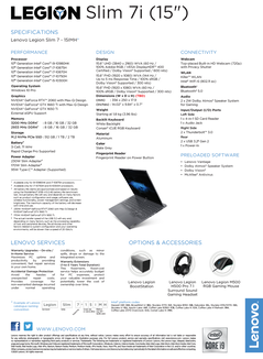 Lenovo Legion Slim 7i - Specifications. (Source: Lenovo)