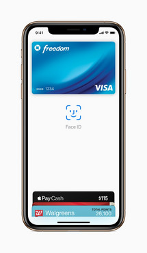 The white background in the Apple wallet shows the notch that is hidden by the dark wallpaper in the other images. (Source: Apple)