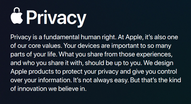 Apple's statement on privacy. (Source: Apple)