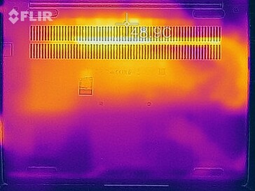 Heatmap of the bottom of the device under load