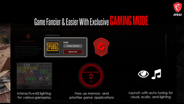 Gaming Mode automatically chooses the best settings for your games. (Image Source: MSI)