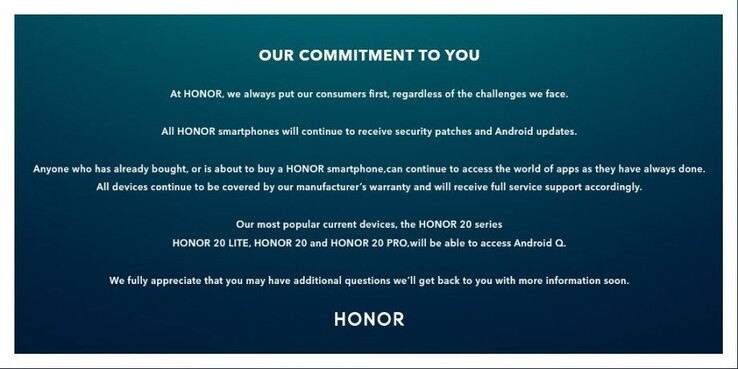 Honor also made a graphic out of its statement on Android Q. (Source: Trusted Reviews)