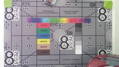A photo of our test chart taken with the rear-facing camera