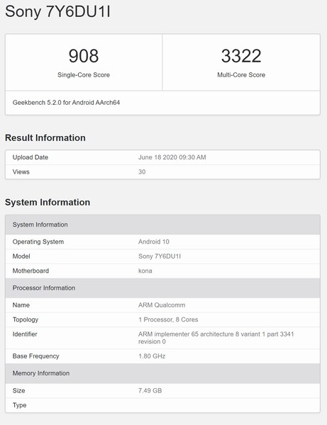 The Sony 7Y6DU1I. (Image source: Geekbench)