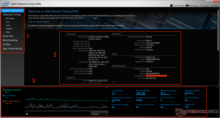 Intel Extreme Tuning Utility screenshot