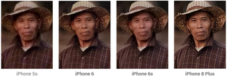 100 percent zoom of a laboratory photo showing the image noise improvement over several generations of iPhone. (Source: DxOMark)